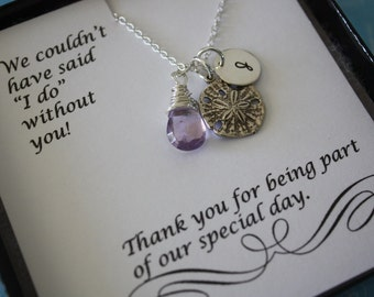 Set of 4, Bridesmaid Necklaces Personalized, Beach Wedding Gift, Sand Dollar Necklace, Bridesmaid Gift, Thank You Card