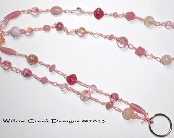 Clearance Sale Beaded Badge Lanyard,  Pink Chain ID Badge Lanyard, Beaded Lanyard, Necklace, Lanyard, Id, Badge Holder Lanyard  LY15123
