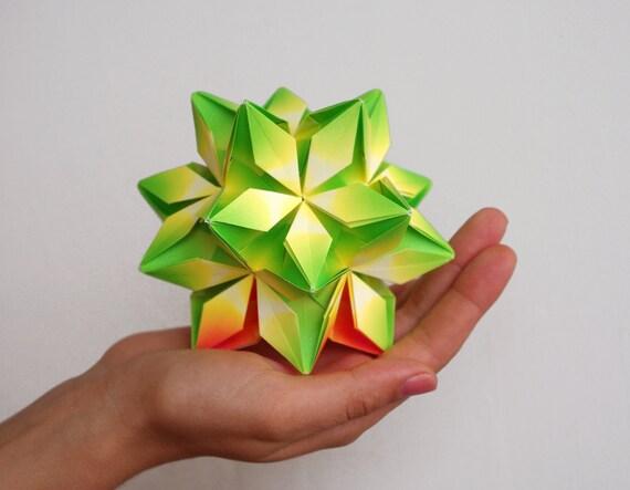 SALE 40% OFF! Modern Home Decor - Geometric paper sculpture. Green, orange flower