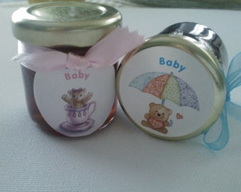 Gender Reveal party favor/Baby Shower Jam Favors/ 1.5 oz/ 25 Baby Party Marm-A-Mini's And Jams/ Treasury Item