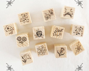 Flower Stamps Set - Rubber Stamp Set - Diary Stamps - Deco Stamps - 12 pcs in