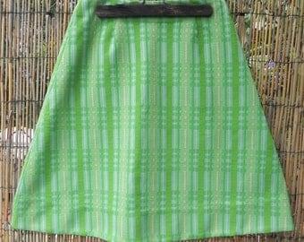 Handmade Polyester Green Plaid Skirt