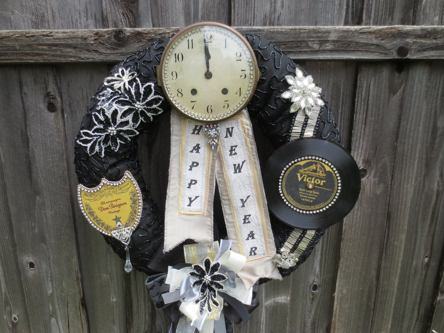 New Years Wreath Elegant Decorations Black And White Shabby
