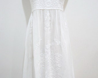 Mexican Embroidered Sundress Cotton Strapless In White with Lining, Wedding Dress, Bridesmaid Dress