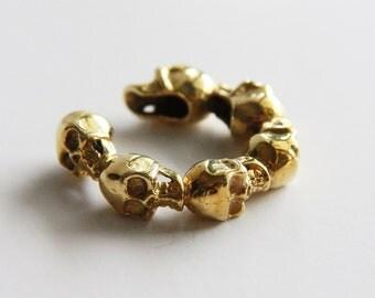 Full Golden Skulls Ring