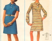 Classic  MOD 1960s Butterick 5105  Button Tab Shift Dress UNCUT Sewing Pattern Easy To Sew Bust 34