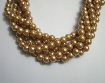 Dark Champagne Gold, Glass Pearl Round Beads, 6mm, 74 Beads(approximately)-Full Strand