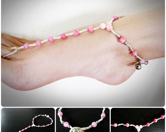 Anklet-toe-Ring, Barefoot Sandals - footwear, Stone Bead, Wax Cord, Bohemian, Anklets Handmade Thailand Jewelry. JA1016