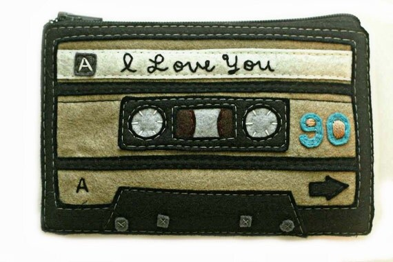Cassette Tape Pouch - Deluxe I Love You 80s Zippered Coin Purse