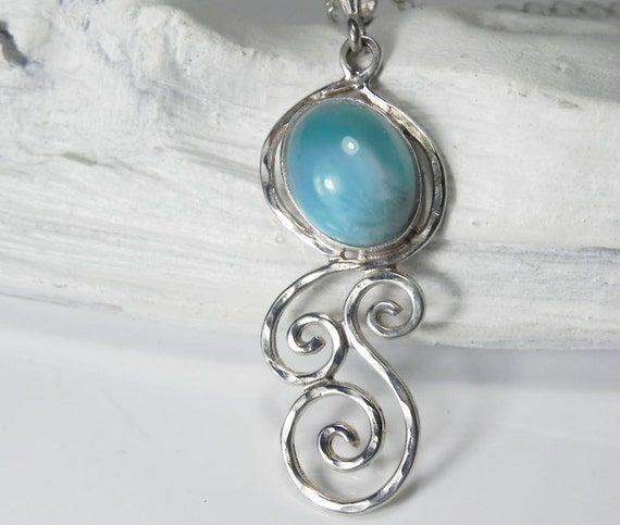 Larimar Necklace - Larimar Pendant  - Spiral Swirl Necklace - Unique Larimar Jewelry - Ocean Waves - Mermaid Dreams
