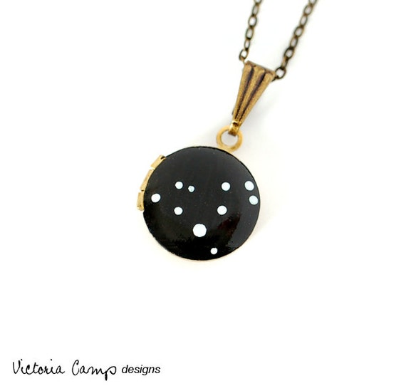 Leo Zodiac Constellation Necklace on Vintage Tiny Locket - Hand Painted -  August September Birthday, Personalized, Leo the Lion