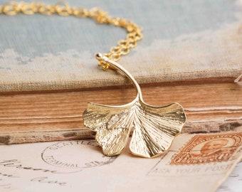 Ginkgo Leaf Necklace, Gold Ginkgo Pendant, Autumn Leaf Jewelry, Gift for Her, Peace Yoga Zen, Meditation Necklace, Woodland Pendant
