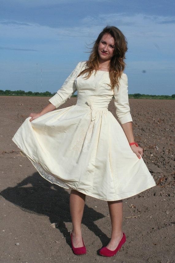 Take Me Down to the Little White Church - Short Wedding Dress - Circle Skirt - Boatneck - 1950's Classic Bridal