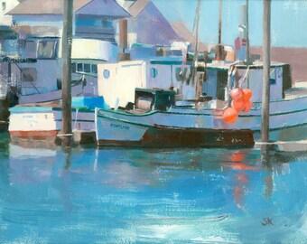 fishing boats original oil painting 12x16 - Westport Fishing Boats