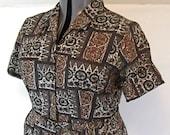 48B-39W-54H, vintage plus size dress, size xxl, 1960s, tribal print, faux batik, cotton, shirtdress, mint condition with belt