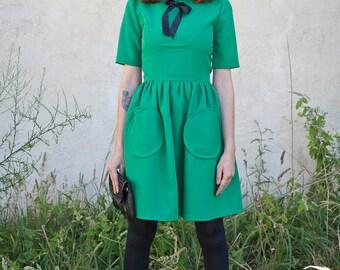 60s mod green A line cute tea dress french scooter dress custom made