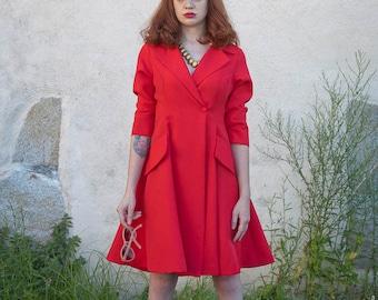 SAMPLE SALE! Size L Red pin up dress 50s rockabilly women dress winter coat dress