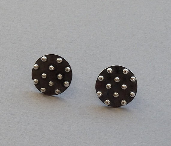 Sterling silver granulated studs - Sterling silver post earrings - Silver posts - Handcrafted jewelry - Silver jewelry