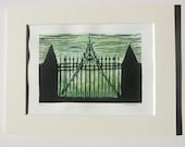 linocut print- the gate to Hill House- matted lino print