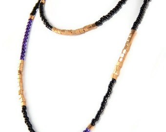 Layering Necklace Long Color Blocked Three Way Necklace in Black Gold and Purple Pearls