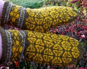 hand knitted wool  latvian mittens, patterned green yellow  adult mittens, knit colorful nordic winter gloves, arm warmers, made to order