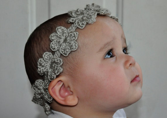 Crochet Pattern PDF - Headband / Bracelet - Flower Garland Headband - Newborn to Adult Sizes - Bridal Accessory - Photo Prop