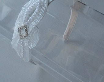 White Beaded Crystal Flower Applique Satin Headband, for weddings, bridesmaids, parties, special occasions