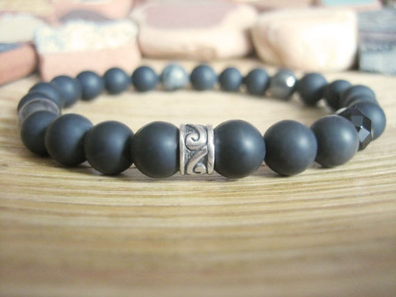 Mens Celtic Bracelet - Mens Black Bracelet with Silver, Black Stone, Onyx, Hematite and Larvikite Beads