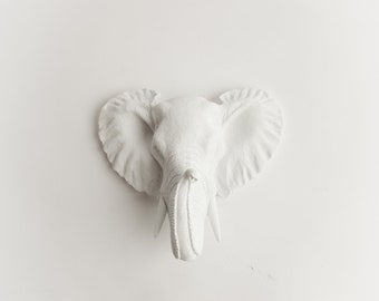 The Saki Mini Faux Elephant Head by White Faux Taxidermy - Elephant Head Wall Mount - Elephant Decor Animal Head