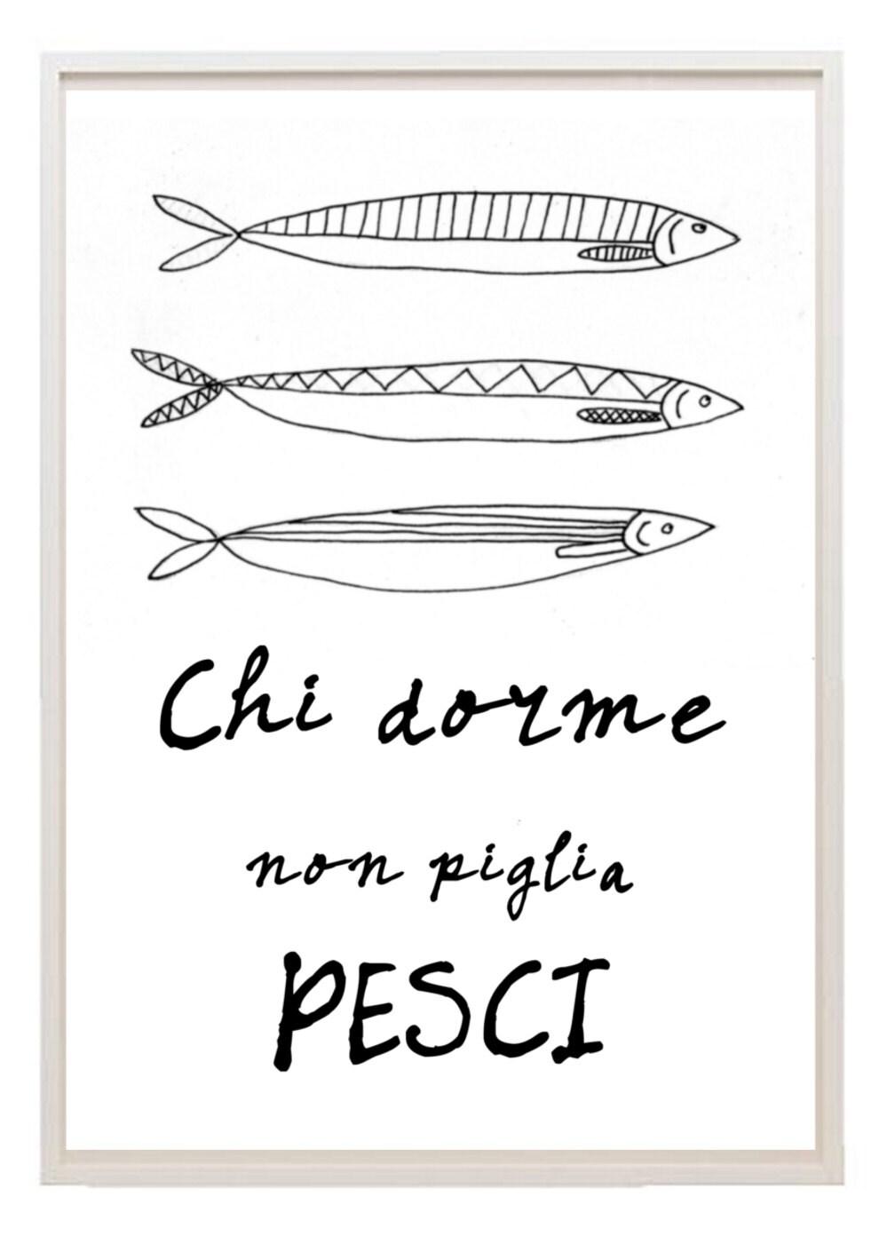 Italian kitchen art poster fish quote free shipping for Italian kitchen prints
