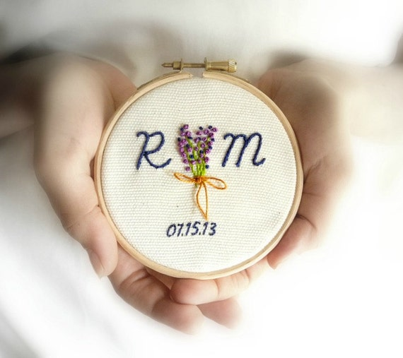 Personalized wedding gift custom embroidery initials