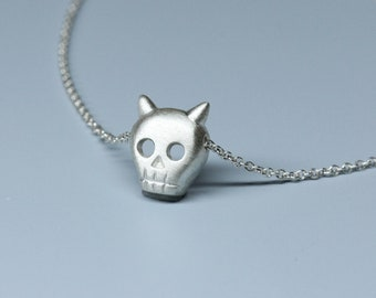 SALE- Ready to ship,  Devil skull necklace in sterling silver