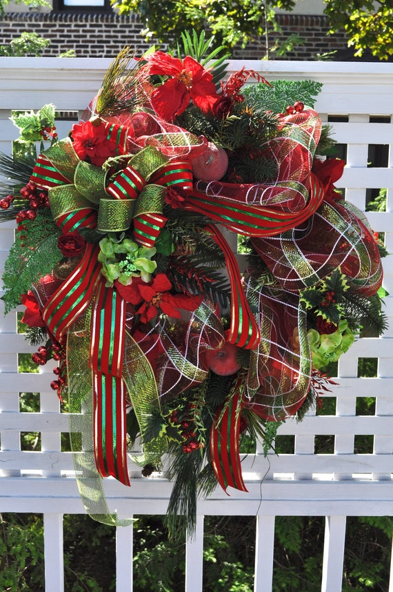 Christmas Door Wreath Xl Wreaths Front Door Floral Deco Mesh