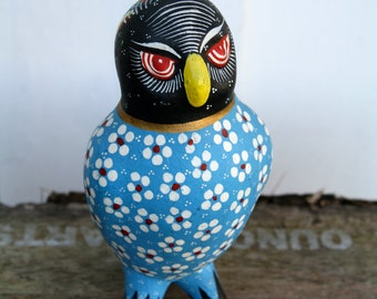 Owl Figurine Clay Pottery Blue, Black, Yellow, White & Red Aztec-Style Handpainted in Mexico. VTG