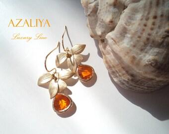 Ballerina Princess Physalis Orange Stone Chandeliers. Azaliya Luxury Line. Brides, Bridesmaids Earrings. Gift Wrapping.