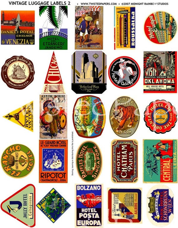 25 Luggage Labels Vintage International And American Travel