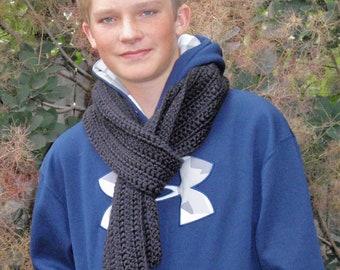 SUMMER SALE - Crochet Man's Scarf - Men's Black Fashion Scarf, Men's Apparel Scarf, Clothing Accessory - Lion's Brand Yarn in BLACK