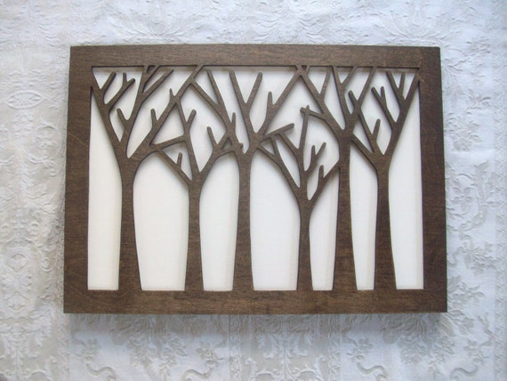 Items similar to tree forest wood wall decor art on etsy - Wall designs with wood ...
