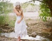 Lace Wedding Dress Handkerchief  Strapless Bride Gown