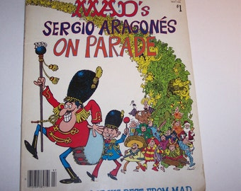 Vintage MAD Magazine Compilation Cartoon Book,  Alfred E. Newman Mad's Sergio Aragones on Parade 60s 70s
