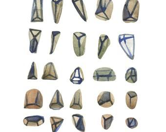 Watercolor painting Diamonds - watercolor print - natural home decor - Archival print minimalist painting West Elm