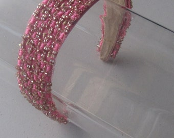 Pink and Silver Beaded Woven Headband, for weddings, parties, special occasions
