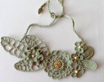 Crochet Linen Necklace - Statement Necklace - Crochet Bib Necklace