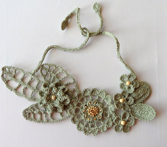 Choker Necklace Etsy: Crochet Linen Necklace Statement Necklace Crochet Bib