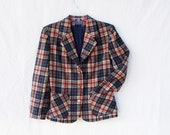Pendleton Wool blazer fully lined buffalo plaid fitted Vintage boyfriend blazer Women's size small jacket red blue virgin wool