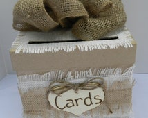Shabby Chic Burlap Card Box
