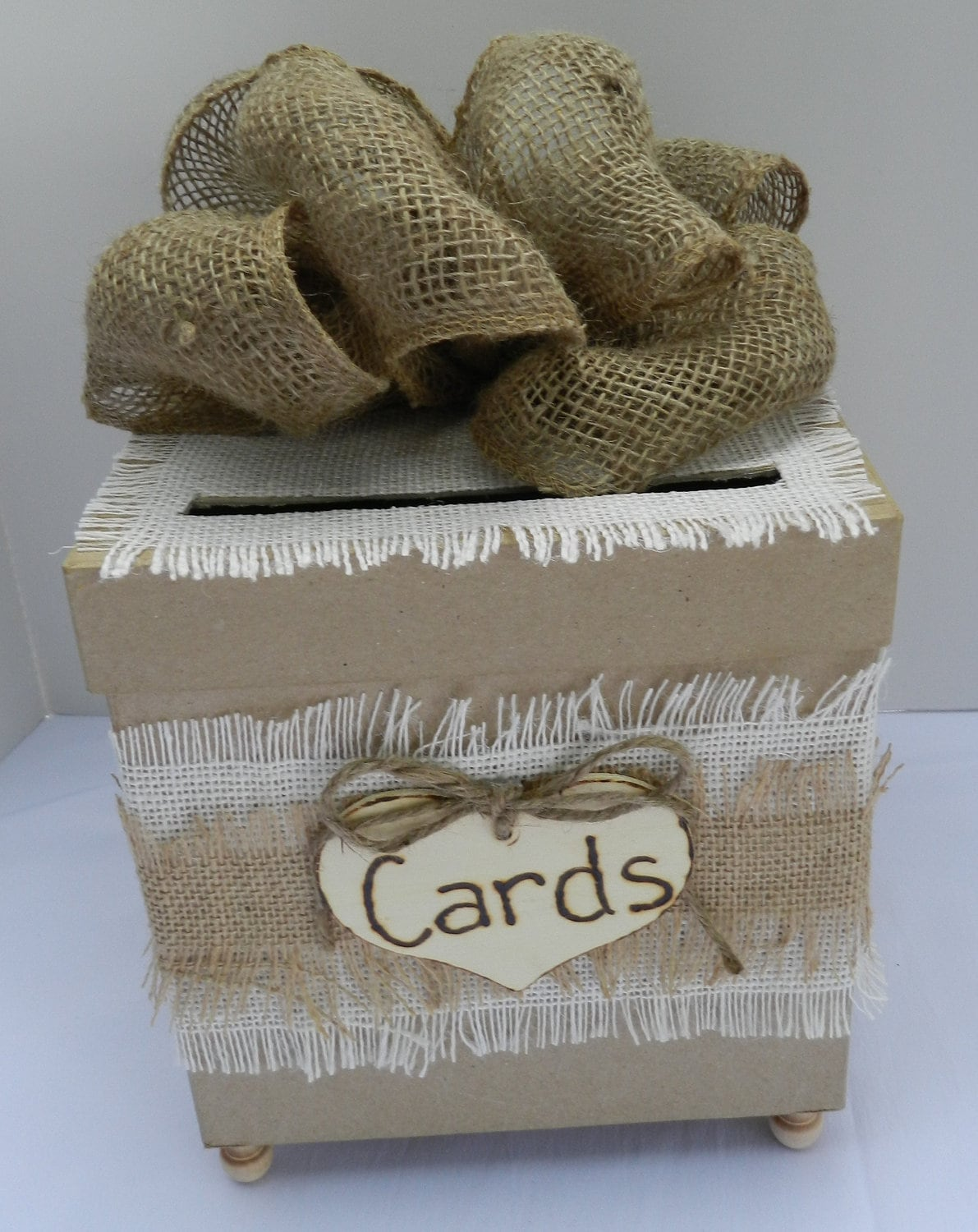 shabby chic burlap card box. Black Bedroom Furniture Sets. Home Design Ideas