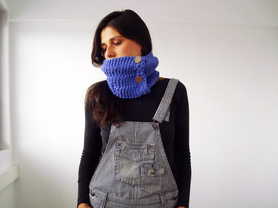 Knit blue cowl scarf - women chunky cowl with beige buttons