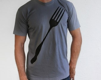 Giant Fork Mens Graphic Tee - plus size unisex foodie back to school shirt gift for him - funny dad gift - chef shirt - mens funny tshirt