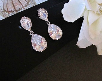 Cubic Zirconia Earrings, Bride Earrings, Crystal Earrings, CZ Earrings, Drop Earrings, Bridal Earrings, Wedding Earrings, Bridal Jewelry,